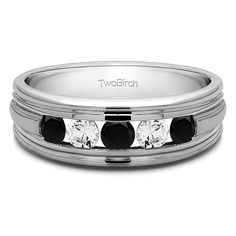Sterling Silver Classic Men's Wedding Ring with Designer Shank With Black And White Diamonds(0.5 Cts., black, I1-I2) (Sterling Silver, Size 6) (solid)