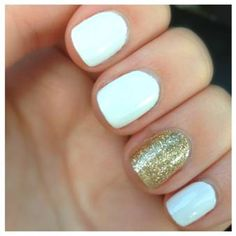 White and gold sparkled nails