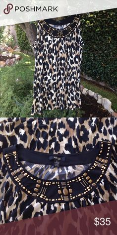 STYLE & CO 3X TOP Mint  condition  Style& Co 3X Top.  Animal print   top with all beads present around neckline. See picture for pattern/color detail.  OBO Style & Co Tops Blouses