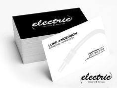 Simple business card design for Electric Guitar & Strings.