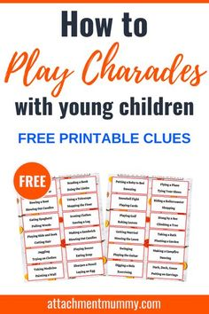 How to Play Easy Charades with Children {+ FREE Printable Clue Sheets} #family #familyfun #kids #familygame #charades #stayathome #lockdown #stayhome Charades For Kids, Craft Activities For Kids, Games For Kids, Family Activities, Drama Activities, Cognitive Activities, Family Games Online, Online Games, Gaming