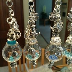 """~Beautifully HANDMADE Necklaces~  Pic#1 FISHBOWL Pic#2 Fishbowl Charms= Seahorse, Anchor & Heart Pic#3 DANDELION 'make-a-wish'  Pic#4 Close-up of CLASP 24"""" Chain"""