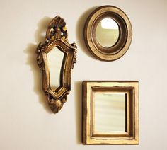 Mini Gilded Gold Mirrors, Set of 3 | Pottery Barn...could mix in with other stuff