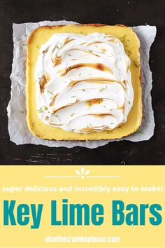 No Cook Desserts, No Cook Meals, Just Desserts, Delicious Desserts, Dessert Recipes, Yummy Food, Key Lime Bars, Key Lime Pie Recipe Video, Lime Bar Recipes