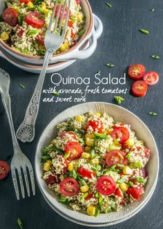 Quinoa Avocado Salad makes a delicious side dish for your summer barbecue, or a whole meal! Fresh tomatoes and sweet corn add to the deliciousness. Avocado Salad Recipes, Avocado Salat, Vegetarian Recipes, Cooking Recipes, Healthy Recipes, I Love Food, Good Food, Great Recipes, Cooking