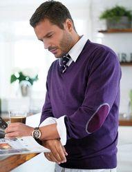 I love it when men wear bold colors. Royal purple always looks good.