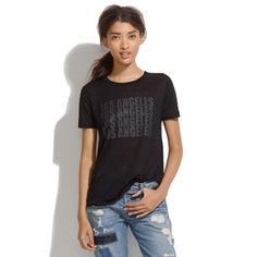 Madewell linen Los Angeles tee Great condition-worn once! Cute linen tee. Looks great under a leather jacket or tucked into a skirt! Madewell Tops Tees - Short Sleeve