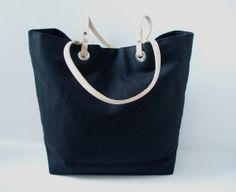 Beach Bags Casual Tote Bag Black Linen Tote by IndependentReign