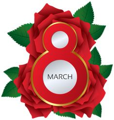 March 8 Red Roses PNG Clipart Image