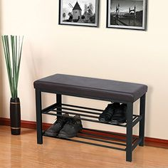 SONGMICS Metal Shoe Bench Shoe Rack Entryway Shoe Storage Oraganizer Faux Leather Top This Songmics shoe bench is an effective option to solve 2 Tier Shoe Rack, Shoe Rack Bench, Bench With Shoe Storage, Shoe Storage Organiser, Entryway Shoe Storage, Metal Beds, Furniture Sale, Leather, Top