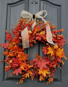 Fall wreath- Autumn Wreaths for door – Berry wreath – Door Wreaths – Fall Wreath | How Do It