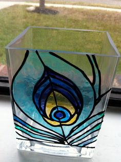 Peacock Feather Vase  Faux Stained Glass by JilavoneArts on Etsy