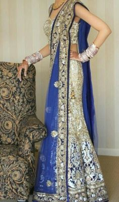 Bridal lehenga with silver and blue colour combination
