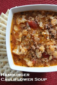 Hamburger Cauliflower Soup; hearty and delicious - easy to throw together, but very substantial!  myrecipereviews.com Califlower Soup Recipes, Caulifower Soup, Hamburger Stew, Hamburger Recipes, Cooking Lamb, Cooking Corn, Cooking Pumpkin, Cooking Turkey, Chowders