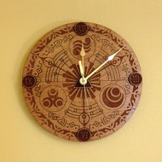 Legend of Zelda Clock This beautiful laser engraved clock is wide, and is hand stained and finished. The clock hands are brass and the movement is Quarts battery powered AA battery not included). The clock featur
