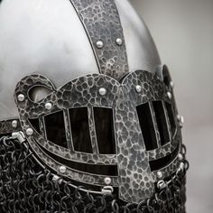 Weathered fantasy viking helmet with laser-cut visor. Available in: mild, weathered mild steel Chainmail Armor, Medieval Helmets, Viking Helmet, Shield Maiden, Natural Linen, Vikings, Royals, Workshop, Collections