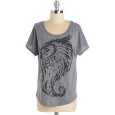 ModCloth Owls Mid-length Short Sleeves Owl Keep an Eye Out Tee found on Polyvore featuring polyvore, fashion, clothing, tops, t-shirts, apparel, graphic tee, grey, short sleeve dolman top and short sleeve t shirts