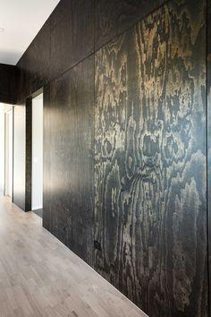 Dark Furniture, Plywood Furniture, Arne Jacobsen, Plywood Wall Paneling, Finished Plywood, Plywood Interior, Pine Plywood, Built In Seating, Corten Steel