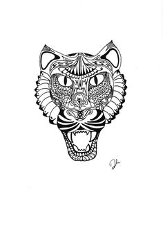 Pen & Ink drawing of a panther by SomeCatchyName on Etsy