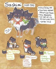 Sushi Dog by witchpaws on deviantART Cute Fantasy Creatures, Mythical Creatures Art, Cute Creatures, Magical Creatures, Creature Concept Art, Creature Design, Cute Animal Drawings, Cute Drawings, Creature Drawings
