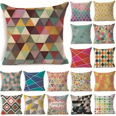 Cheap cushion cover, Buy Quality cushion cover pattern directly from China pattern cushion covers Suppliers: Colorful Geometric Pattern Cotton Linen Throw Pillow Cushion Cover Car Home Sofa Decorative Pillowcase 40231 Cushion Cover Pattern, White Cushion Covers, White Cushions, Pillow Cover Design, Cushions On Sofa, Throw Pillows, Pillow Covers, Patchwork Cushion, Tela
