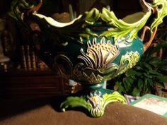 Julius Dressler-Majolica large vase-Austria-signed -Art Nouveau-mint conditioWOW