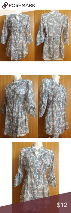 Paisley Floral Sheer Crinkle Tunic fun and chic tunic top from Premium Vanity Collection. Sheer crinkle fabric with paisley floral print.  Mandarin V neck, button down style. Can be worn as long sleeves or 3/4 sleeves Shirred upper front bodice. Ties in back VGUC  pit to pit: Length: Vanity Tops Tunics