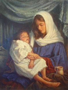 Jesus as a toddler on his Mother Mary's lap - Corbert Gauthier, artist