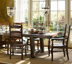 Benchwright Table & Wynn Chair Set - Rustic Mahogany stain #potterybarn