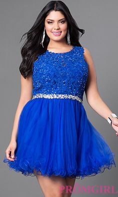 Image of short plus-size party dress in lace and tulle. Style: DQ-9159P Front Image