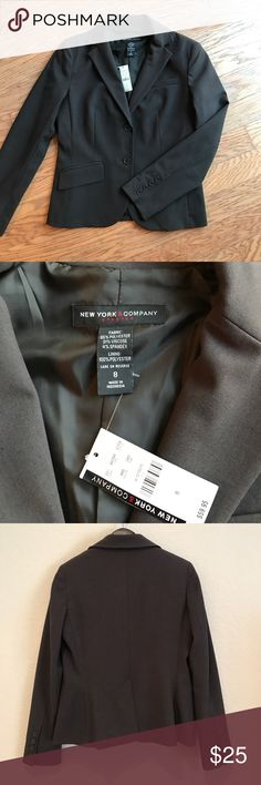 NWT NY&Co 2 button Ladies Blazer. Brown/Grey New with tags New York & Co sports coat/blazer. 2 button with 2 faux pockets and one breast pocket. Button details on sleeves. The color is a brown/grey (I tried to take a close up photo to capture the color). Size 8 New York & Company Jackets & Coats Blazers
