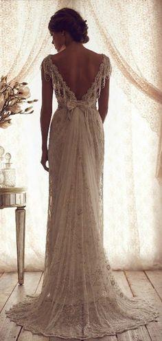 Elegant Deep V Back Lace Vintage Wedding Dress, would love to make a more casual version