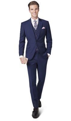 Ludgate Blue Twill 1-Button Slim Fit Suit, , portrait