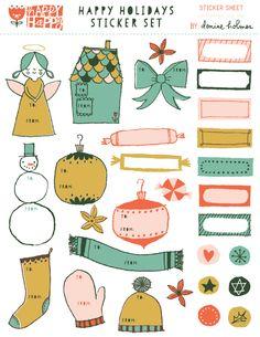 free printable: happy holidays sticker set || Denise Holmes