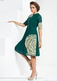 Party Wear Green Georgette Embroidered Work Kurti