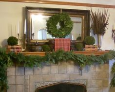 Simple green mantel display will fill your home with the beautiful scent of pine trees.