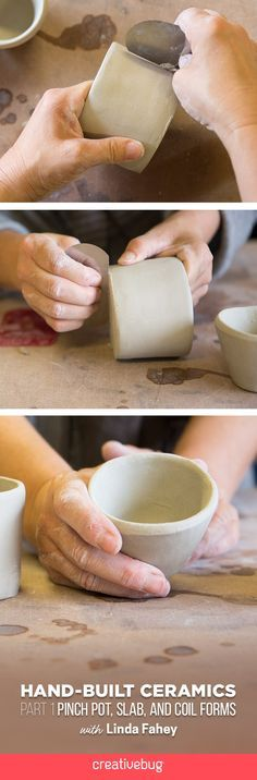 Linda Fahey shows you just how easy it is to get your pottery workspace set up and provides options for more minimalist makers. You will then learn how to prep your clay, make slip, and start hand-building pots.