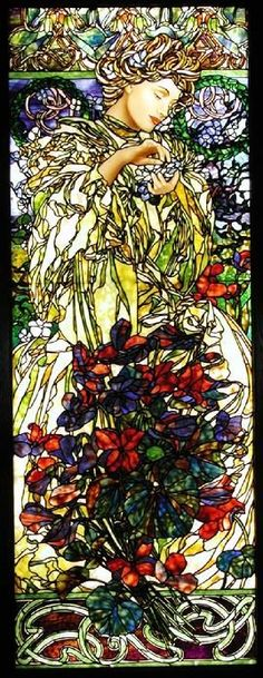 Art Nouveau Style Yellow Flower Lady Stained Glass by Jim M. Berberich, Bogenrief Studios, inspired by Alphonse Mucha