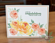 More Stamping = More Fun - Buckeye InklingsBuckeye Inklings Friendship Flowers, Friendship Cards, Stampin Up Karten, Marriage Cards, Congratulations And Best Wishes, Wink Of Stella, Flower Center, Stamping Up Cards, Stampin Up Christmas