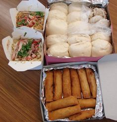 What would make my foodie day...FROM UPPER LEFT: Two large boxes of chow fun and chow mein noodles, a dozen manapua (or charsiu bao [Chinese BBQ pork buns]) and a box of lumpia...