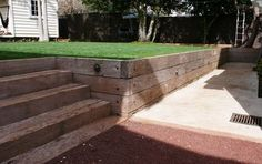 Railroad Ties As Retaining Wall