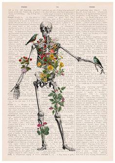 Human Skeleton full of naure Doctor student gift Anatomy Print Anatomical decoration science Biology Human Skeleton, Skeleton Art, Skeleton Makeup, Human Anatomy Art, Anatomy Drawing, Kunst Poster, Medical Art, A Level Art, Human Art