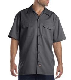 Short Sleeve Work Shirt     PRICE  $29.99 - $32.99   Item# 1574     - Short sleeves  - Stain release  - 2 chest pockets with flaps  - Classic fit