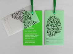 Logo and tags with a bright fluorescent spot green print finish designed by Mind for fashion label Feral Sphere