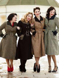 Beautiful winter coats and heels.