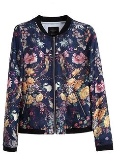 Blue Floral Pockets Zipper Cotton Blend Trench Coat