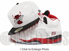 8c87452a9b2 Chicago Bulls Glacial White Jet Black Scarlet Air Jordan V Fire Red Matching  New Era Fitted