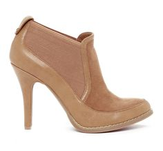 "Sole Society ""Colette"", $59.95  Colors: tan, cream  Closed toe bootie with elastic trim side panel and stitch detail.   Material: Faux Suede  Heel Height: 3 3/4""  Fit: True to size"