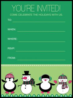 Penguins Holiday Party Invitation Free Printable Party Invitations, Free Printable Cards, Holiday Party Invitations, Party Printables, Free Printables, Alphabet Worksheets, Youre Invited, Sign I, Winter Holidays