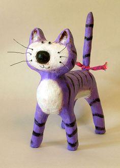 Purple Cat Paper Mache Sculpture by bauskathy on Etsy. $45.00, via Etsy.